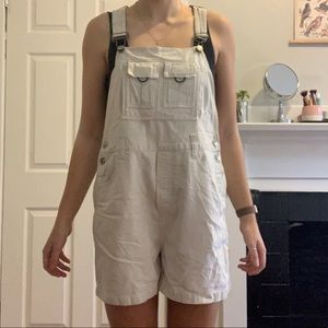 Vintage cream cotton overalls